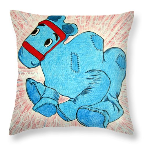 Raggedy Ann And Andy Camel Throw Pillow featuring the painting Raggedy Camel by Kathy Marrs Chandler