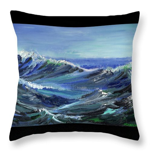 Seascape Throw Pillow featuring the painting Raging Seas by Scott Kirkman