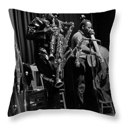 Rahsaan Roland Kirk Throw Pillow featuring the photograph Rahsaan Roland Kirk 1 by Lee Santa