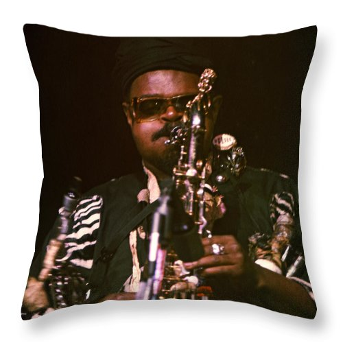Rahsaan Roland Kirk Throw Pillow featuring the photograph Rahsaan Roland Kirk 3 by Lee Santa