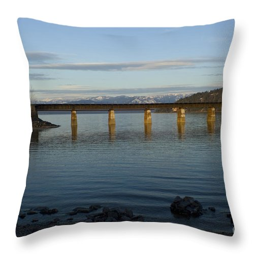 Bridge Throw Pillow featuring the photograph Railroad Bridge Over The Pend Oreille by Idaho Scenic Images Linda Lantzy