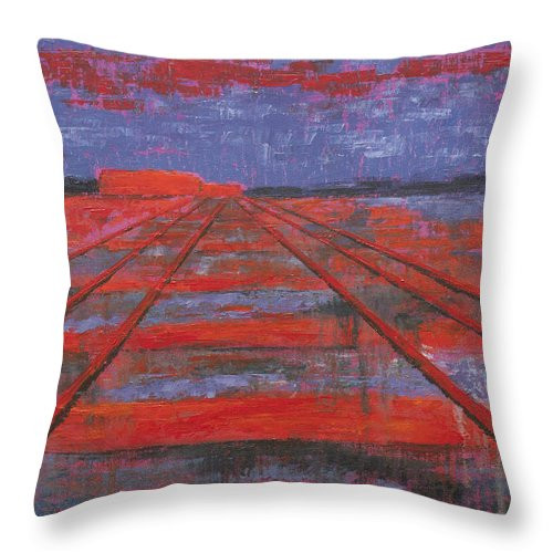 Abstract Art Throw Pillow featuring the painting Railroad into the Dusk by Darko Topalski