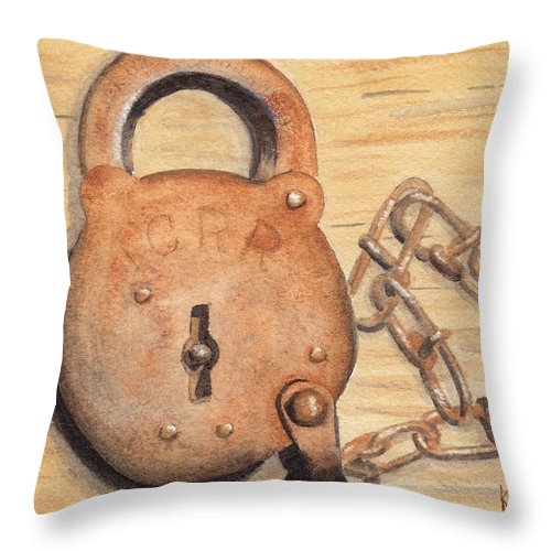 Lock Throw Pillow featuring the painting Railroad Lock by Ken Powers
