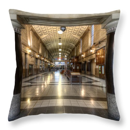 Railway Throw Pillow featuring the photograph Railway Hall by Wayne Sherriff