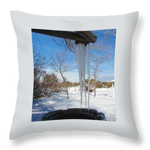Icicle Throw Pillow featuring the photograph Rain Barrel Icicle by Diana Dearen