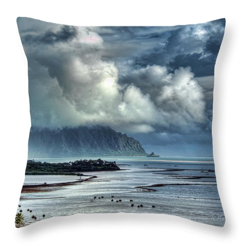 Hdr Throw Pillow featuring the photograph Rain Clearing Kaneohe Bay by Dan McManus