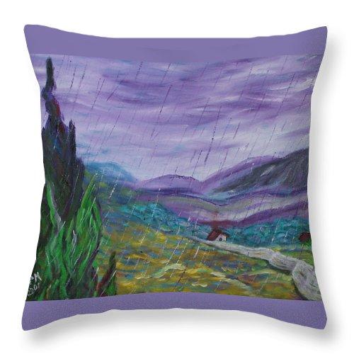 Rain Throw Pillow featuring the painting Rain by David McGhee