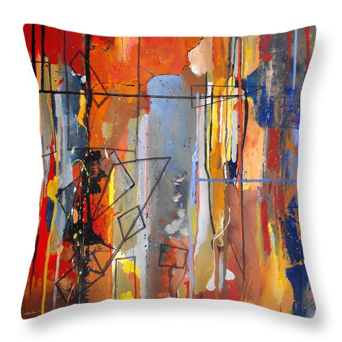 Abstract Throw Pillow featuring the painting Rain Down by Ruth Palmer