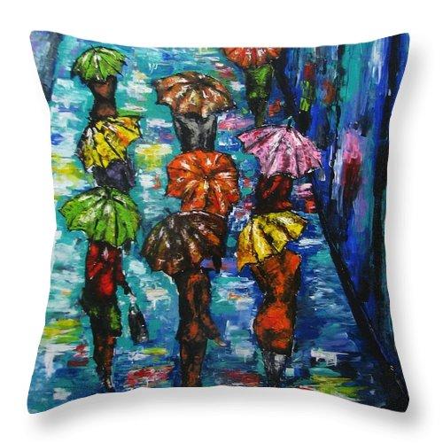 Rain Throw Pillow featuring the painting Rain Fantasy Acrylic Painting by Natalja Picugina