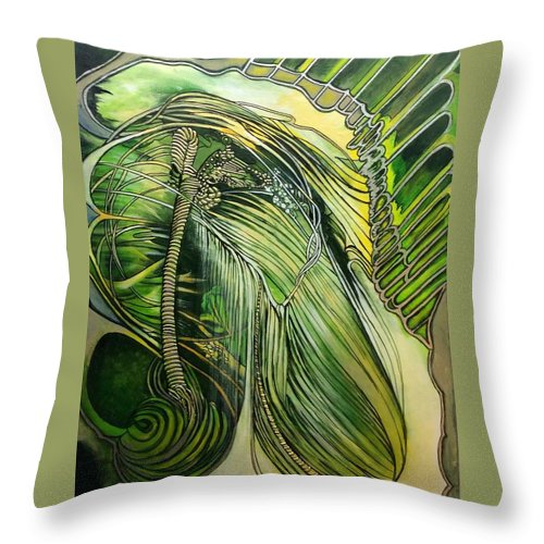 Photo Stream Green Nature Abstract Energy Rain Forest Throw Pillow featuring the painting Rain Forest by Judi Cain