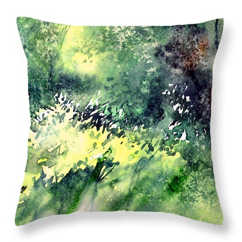 Landscape Watercolor Nature Greenery Rain Throw Pillow featuring the painting Rain Gloss by Anil Nene