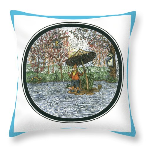 Rain Throw Pillow featuring the drawing Rain Gnome Rain Circle by Bill Perkins