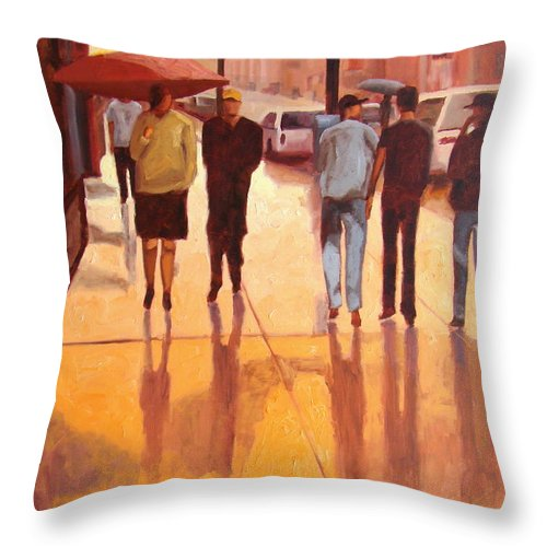 Manhattan Throw Pillow featuring the painting Rain In Manhattan Number Eighteen by Tate Hamilton