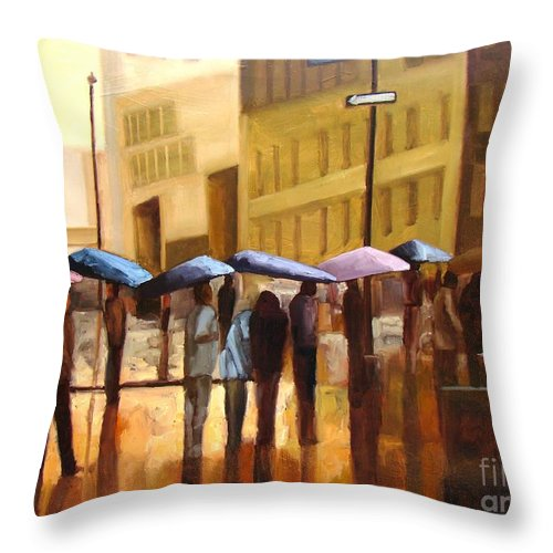 Cityscape Throw Pillow featuring the painting Rain In Manhattan Number Seventeen by Tate Hamilton