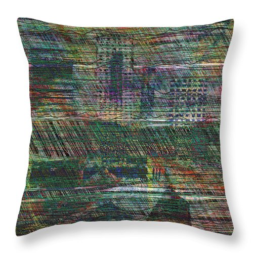 Rain Throw Pillow featuring the digital art Rain In The City by Andy Mercer