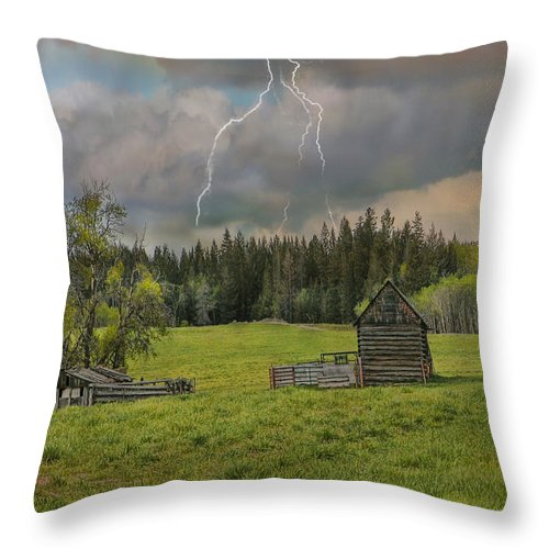 Barn Throw Pillow featuring the photograph Rain Storm by Ed Hall