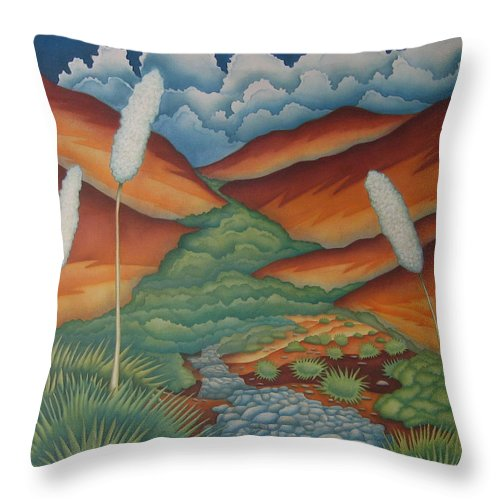 Landscape Throw Pillow featuring the painting Rain Trail by Jeniffer Stapher-Thomas