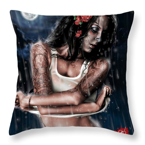 Pete Throw Pillow featuring the painting Rain When I Die by Pete Tapang