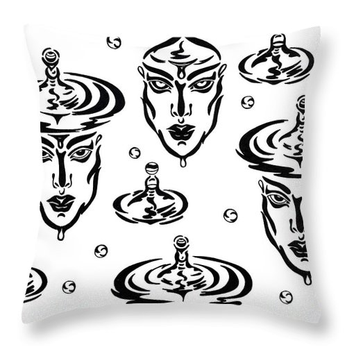 B&w Throw Pillow featuring the drawing Rain by Yelena Tylkina