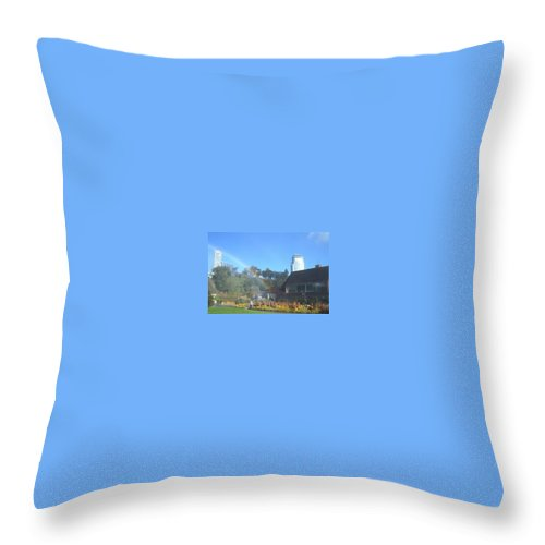 Rainbows Throw Pillow featuring the photograph Rainbow At The Falls by Debbie Levene