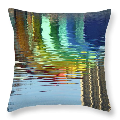 Rainbow Throw Pillow featuring the photograph Rainbow Bandshell Reflection by Denise Mazzocco