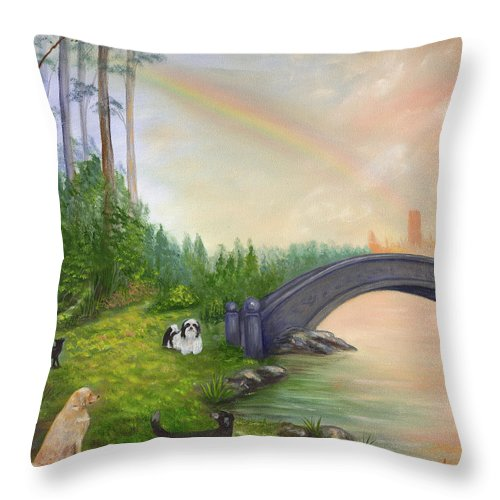 Pet Remembrance Throw Pillow featuring the painting Rainbow Bridge by Anne Kushnick