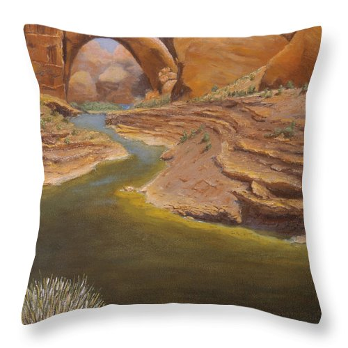 Rainbow Bridge Throw Pillow featuring the painting Rainbow Bridge by Jerry McElroy