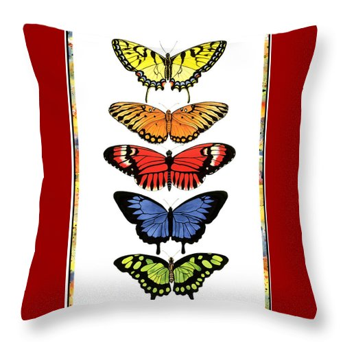 Butterflies Throw Pillow featuring the painting Rainbow Butterflies by Lucy Arnold