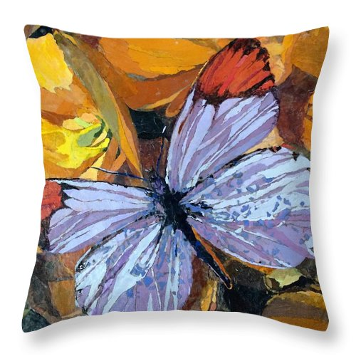 Butterfly Throw Pillow featuring the painting Rainbow Butterfly, For Matisse by Leah Tomaino
