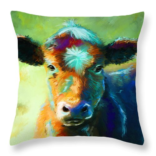 Cow Paintings Throw Pillow featuring the painting Rainbow Calf by Michelle Wrighton