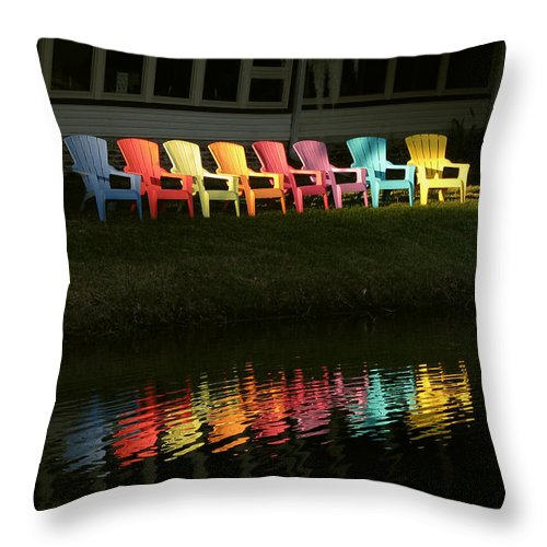 Lounge Throw Pillow featuring the photograph Rainbow Chairs by Peg Urban