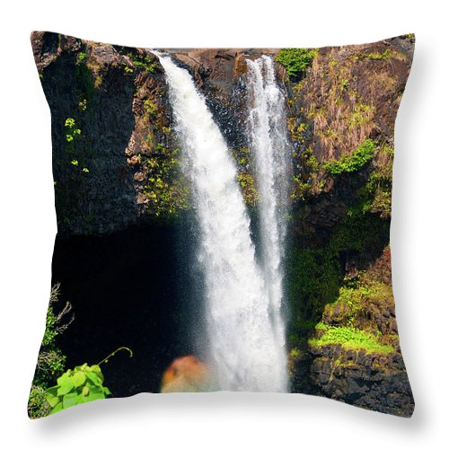 Waterfall Photography Throw Pillow featuring the photograph Rainbow Falls I by Patricia Griffin Brett