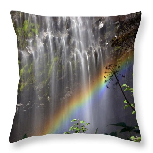 Waterfall Throw Pillow featuring the photograph Rainbow Falls by Marty Koch