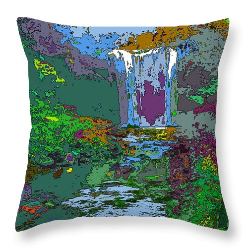 Digital Art Throw Pillow featuring the digital art Rainbow Falls Purple by Anthony Forster