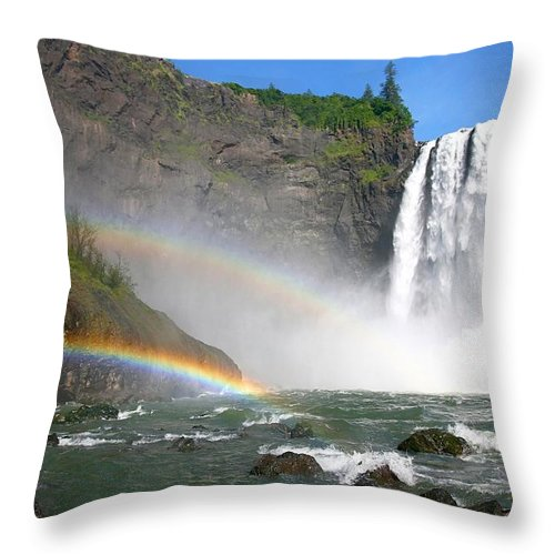 Waterfall Throw Pillow featuring the photograph Rainbow Falls by Winston Rockwell