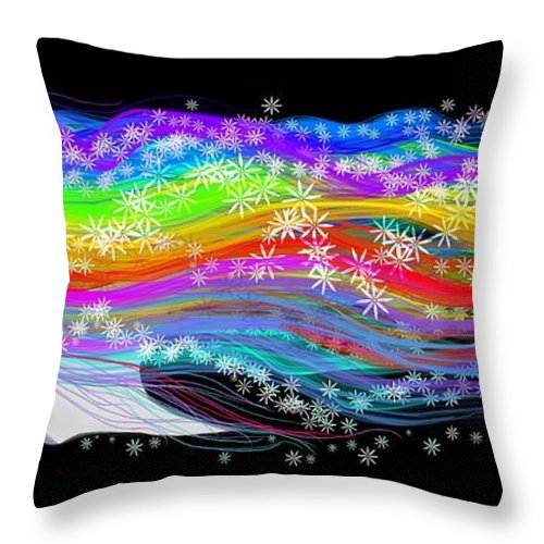 Girl Throw Pillow featuring the painting Rainbow Flower Girl by Nick Gustafson