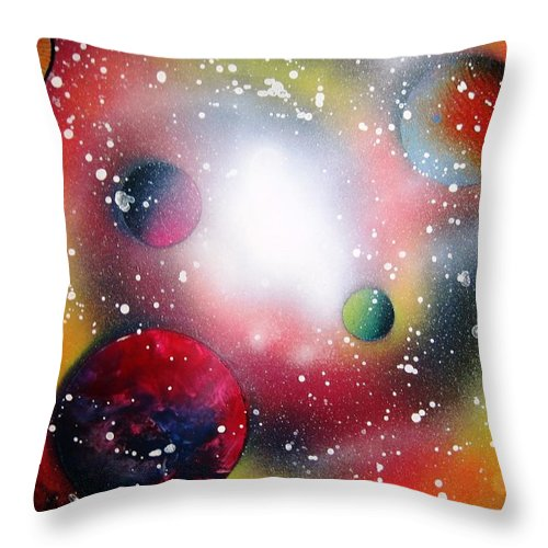 Spray Paint Art Throw Pillow featuring the painting Rainbow Galaxy by Emily Cummings