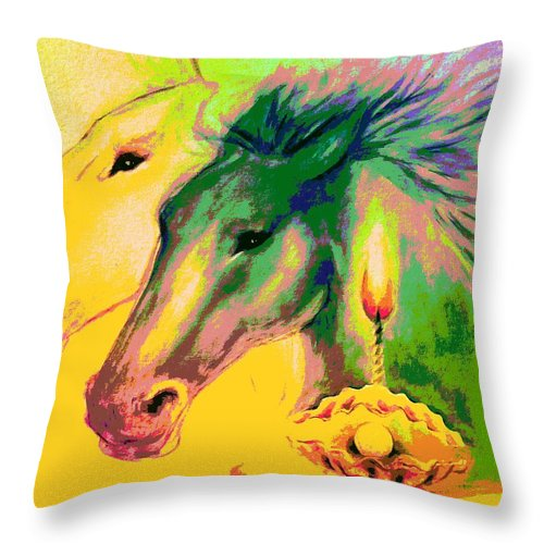 Horses Rainbow Pearl Clam Light Throw Pillow featuring the mixed media Rainbow Horses And The Pearl Of Light by Fenlin Lee