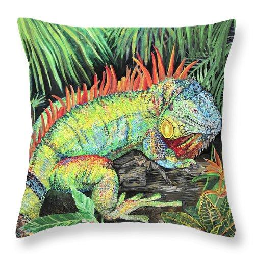 rainbow iguana throw pillow for sale by amanda zirzow