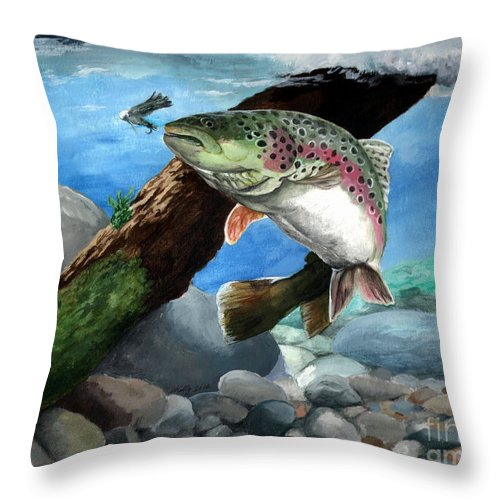 Fish Throw Pillow featuring the painting Rainbow by Kathleen Kelly Thompson