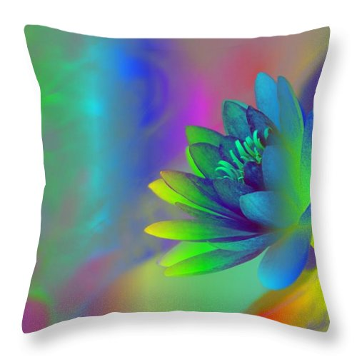 Rainbow Throw Pillow featuring the photograph Rainbow Lily by Donna Bentley