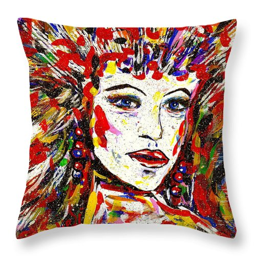 Abstract Art Throw Pillow featuring the painting Rainbow by Natalie Holland