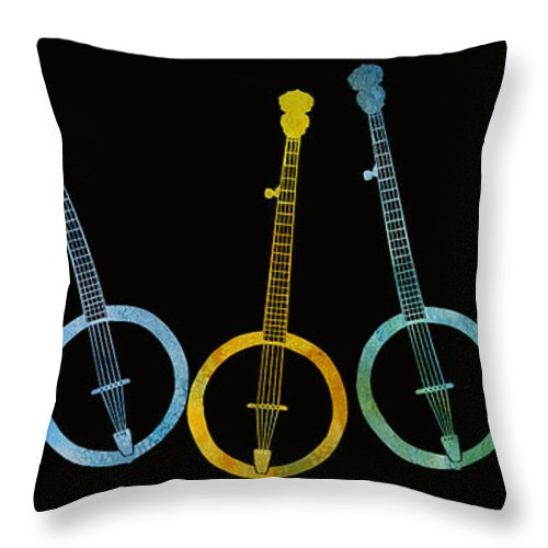 Banjo Throw Pillow featuring the digital art Rainbow Of Banjos by Jenny Armitage