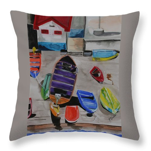 Boats Throw Pillow featuring the painting Rainbow On The Dock by Jean Blackmer