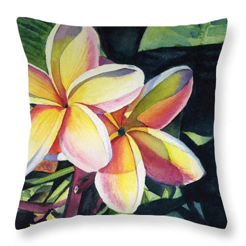 Rainbow Throw Pillow featuring the painting Rainbow Plumeria by Marionette Taboniar