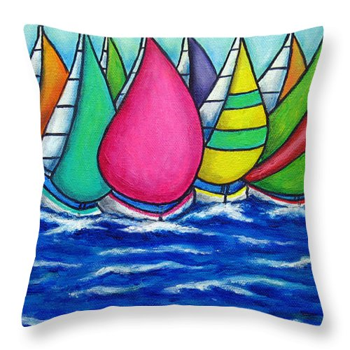 Boats Throw Pillow featuring the painting Rainbow Regatta by Lisa Lorenz