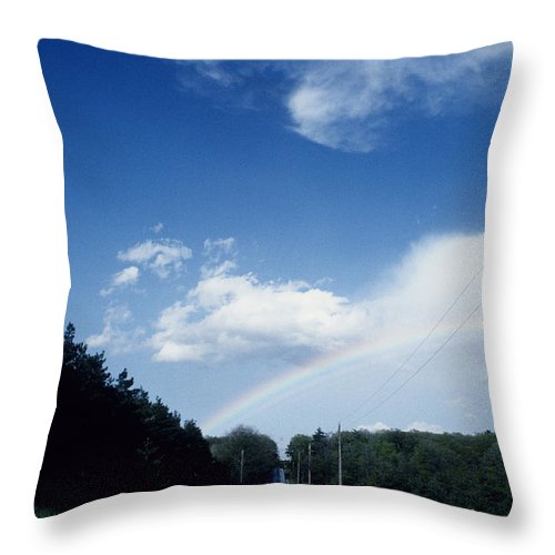 Highway Throw Pillow featuring the photograph Rainbow Road Blue Sky by Steve Somerville