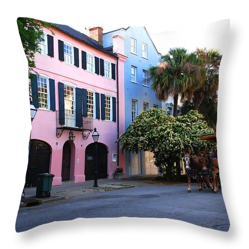 Charleston Throw Pillow featuring the photograph Rainbow Row Charleston by Susanne Van Hulst