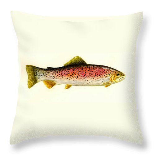 Fish Throw Pillow featuring the painting Rainbow Trout by Michael Vigliotti