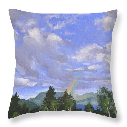 Clouds Throw Pillow featuring the painting Rainbow's End by Mary Chant